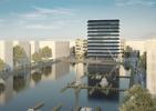 Wyższy, transparentny budynek biurowy - zwycięzki projekt autorstwa MVRDV i morePlatz. Ta i druga, niższa bryła mają stanąć w porcie Moguncji (Niemcy) w 2015 roku